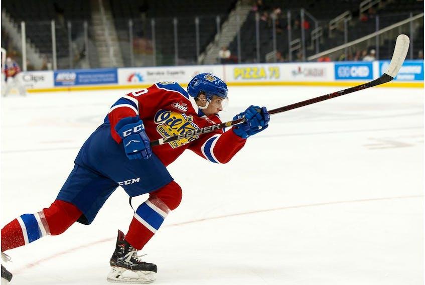Edmonton Oil Kings' Vladimir Alistrov (10) fires a monster slapshot on Portland Winterhawks' goaltender Joel Hofer (not shown) during WHL hockey action at Rogers Place in Edmonton, on Sunday, Oct. 13, 2019. Photo by Ian Kucerak/Postmedia