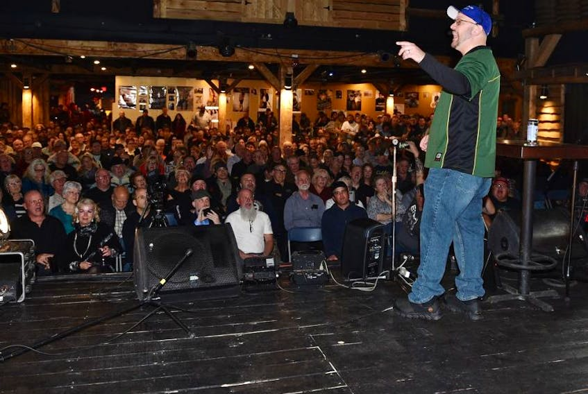 A crowd listens to Peter Downing, the Founder of Wexit Alberta at a Wexit gathering in Edmonton, November 2, 2019. - Ed Kaiser/Postmedia