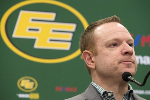 Edmonton Eskimos general manager and vice-president of football operations Brock Sunderland.