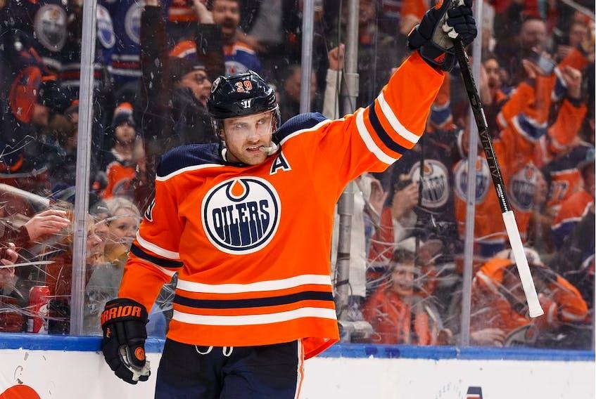 Edmonton Oilers forward Leon Draisaitl (29) celebrates a goal on Nashville Predators goaltender Pekka Rinne at Rogers Place in Edmonton on  Jan. 14, 2020.