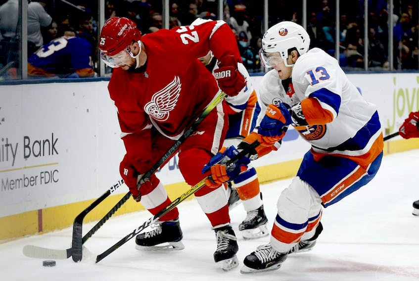 Detroit Red Wings defenceman Mike Green (25) and New York Islanders center Mathew Barzal (13) battle for a loose puck during the second period at Nassau Veterans Memorial Coliseum.