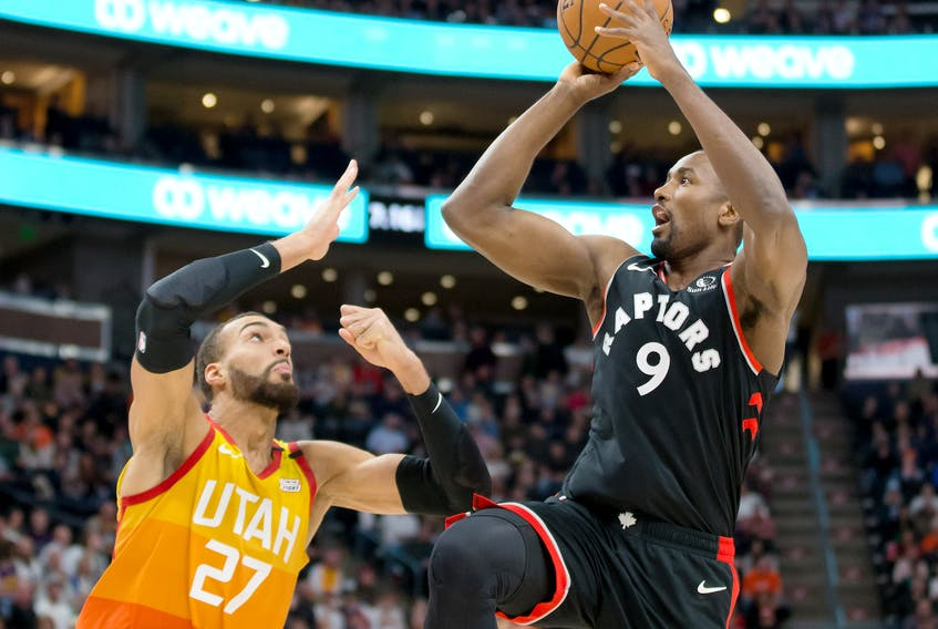 The Raptors' Serge Ibaka (right) shoots over Jazz centre  Rudy Gobert on March 9. The Raptors won the game, it was their final tilt before the league shut down USA TODAY SPORTS