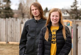 High school graduates, brother and sister, Colin and Samantha Coleman were set to attend graduation but plans have now been cancelled. The pair pose near their home in Calgary on Saturday, April 18, 2020. Jim Wells/Postmedia