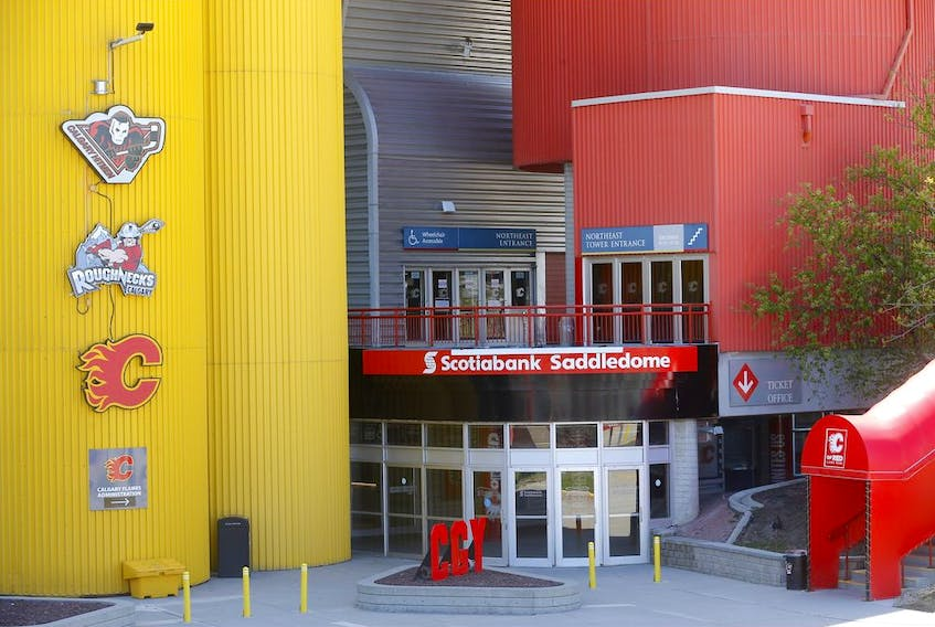 The Scotiabank Saddledome wont be seeing any NHL action as the NHL announced their return to play plan in Calgary on Tuesday, May 26, 2020. Darren Makowichuk/Postmedia