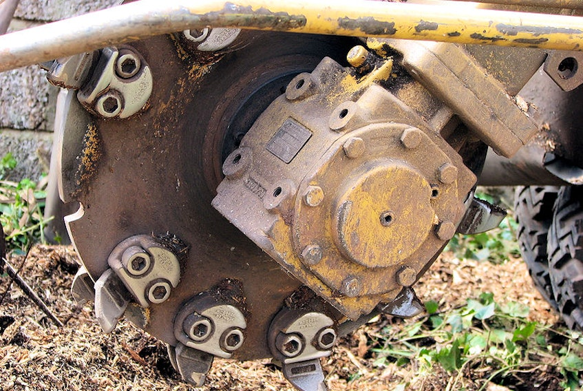 A Vermeer stump grinder cutting wheel about to remove the stump of an 80 foot high eucalyptus tree in Yate, South Gloucestershire, England, in 2007. - Adrian Pingstone / Wikimedia Commons
