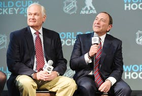 NHLPA Executive Director Donald Fehr, left, with NHL Commissioner Gary Bettman. Both are unsure when hockey will be played again as the world deals with the COVID-19 pandemic.