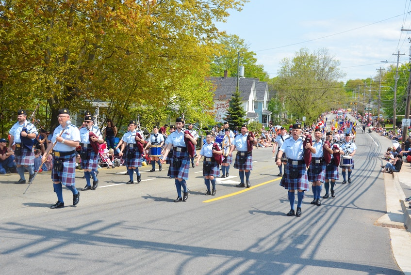 The 14 Wing Greenwood Pipes and Drums march in the 2019 Annapolis Valley Apple Blossom Festival Grand Street Parade. Festival organizers have announced that the 88th festival has been further postponed to 2022. FILE PHOTO