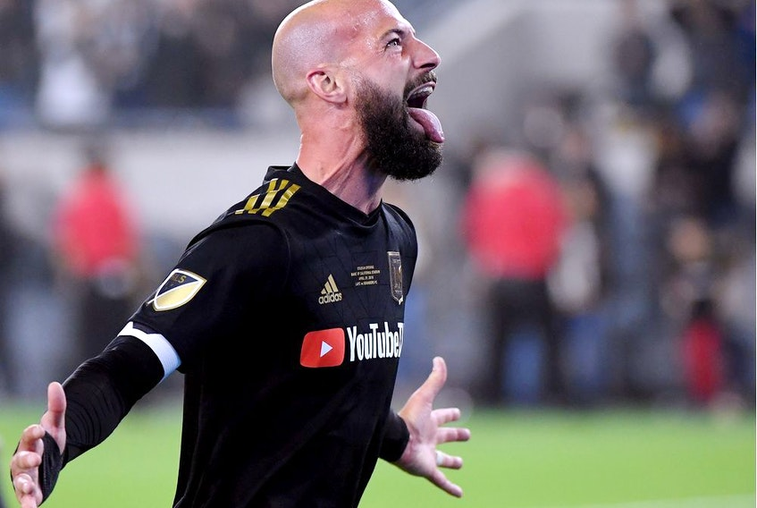 Laurent Ciman of Los Angeles FC celebrates a 1-0 win over the Seattle Sounders in extra time during the inaugural home game at Banc of California Stadium on April 29, 2018, in Los Angeles.