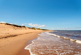 Cavendish Beach in P.E.I. National Park. Swimming is not recommended on July 14 due to dangerous surf conditions.