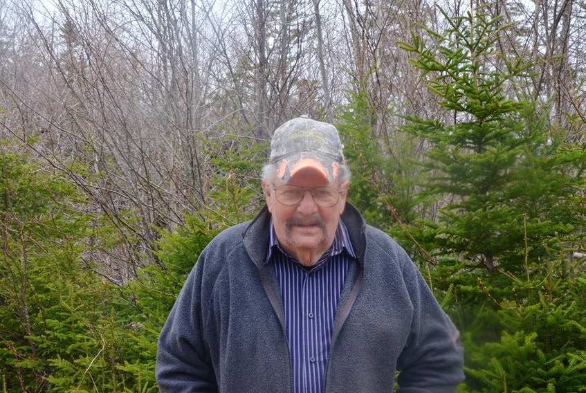 John Hall stands at the edge of the 120 hectares he bought from the Municipality of the District of Guysborough but which the Department of Lands and Forestry now claims it owns.