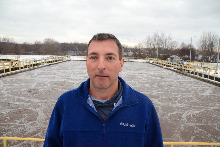 Anthony Sheehan, general manager of the East River Environmental Control Centre, shows how the activated sludge treatment system for the towns of New Glasgow, Stellarton, Trenton and Westville operates.
