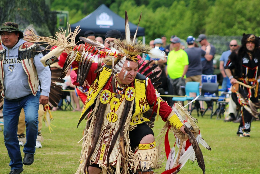 Paul Pike of Corner Brook danced in the male traditional category at the Miawpukek First Nations 23rd annual Powwow.