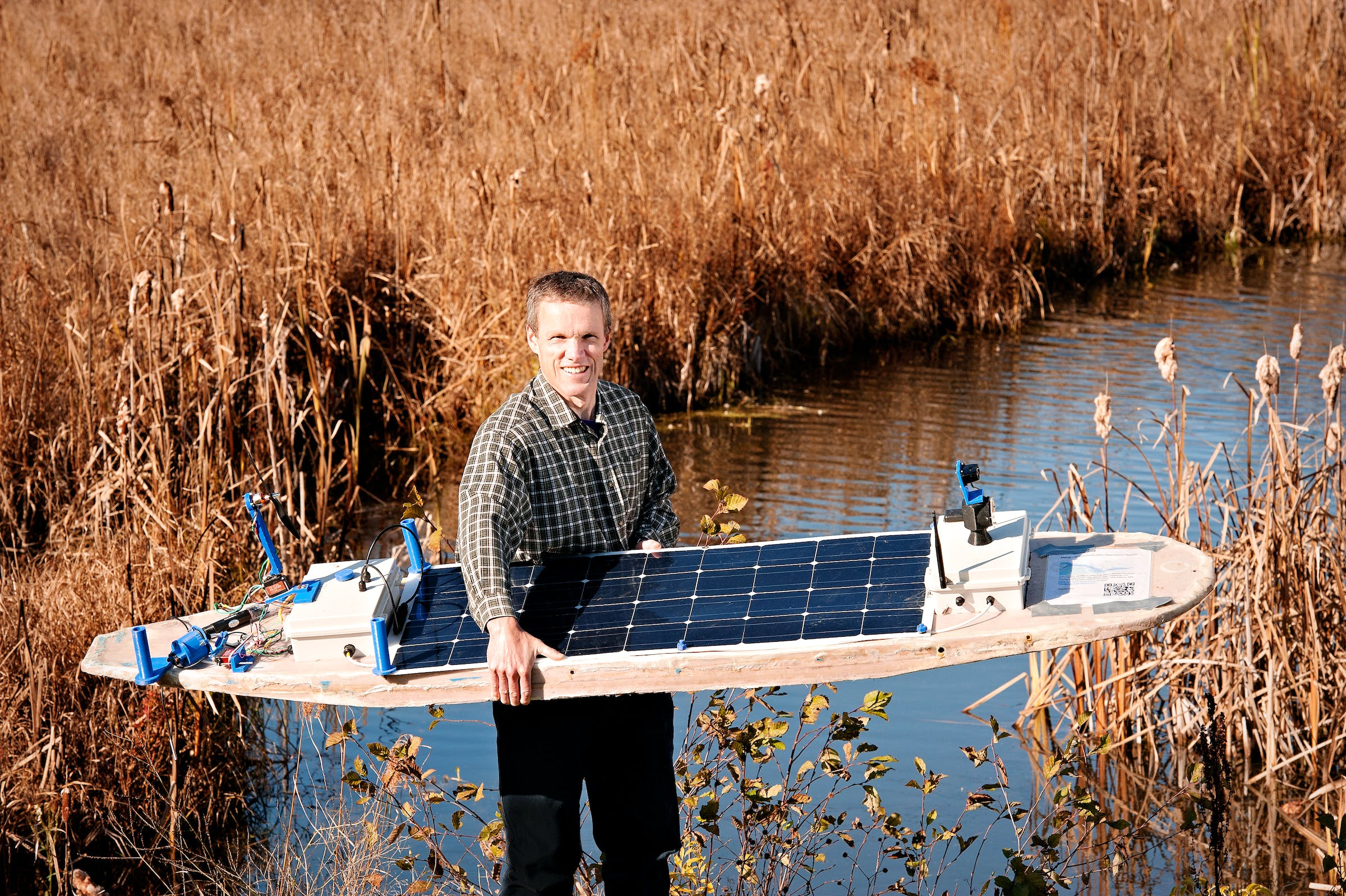 Murray Lowrey-Simpson with the latest version of his boat called AMOS.