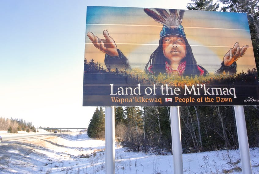 """A sign on Highway 104 near Amherst that welcomes people to the land of the Mi'kmaq was defaced with the words """"N.S. Needs Mills."""" It was reported to RCMP on Monday, Feb.  3, 2020, and has since been cleaned."""