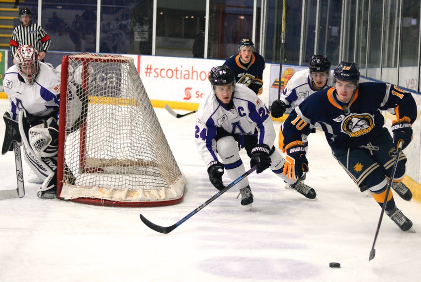 Ramblers goaltender Cody Porter, along with captain Jordan King and defenceman Thomas Ashe, will be on the ice at Amherst Stadium Saturday night at 7 p.m. They host the Lumberjacks, a team they beat the last two times they visited Amherst by scores of 7-4 and 4-3 in a shootout.