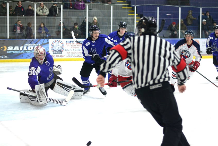 Cody Porter, seen here making a save against the South Shore Lumberjacks last Saturday at Amherst Stadium, suffered an upper body injury in the third period of the game. Jeff LeBlanc, Ramblers coach and general manager says Porter isn't expected to be out of the line up for long.