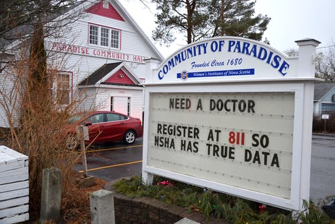 Annapolis County Citizens for Health recently put up this sign in front of the Paradise Community Hall urging people without a doctor to register with the provincial database. They believe many people who need a doctor aren't even aware of this provincial registry. They say more people will be without a physician with local doctor retirements happening this year.
