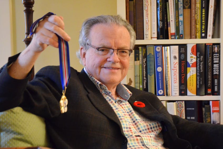 Peter Nicholson, of Annapolis Royal, graduated from Annapolis Royal Regional Academy, Dalhousie, Stanford, and has honourary degrees from a number of universities. On Nov. 7 he was awarded the Order of Nova Scotia.