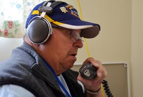 Brian DeAthe of the Greenwood Amateur Radio Club talks to a fellow 'Ham' in New Hampshire. He was at the Wilmot community hall June 23 taking part in the American Radio Relay Leaque's annual field day. The event helps amateur radio operators keep up and improve their skills that are often called upon by other agencies in times of trouble.