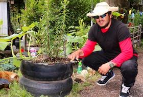 Santos Treminio admires his handiwork. Treminio enjoys repurposing old tires, creating planters, swings and chairs.