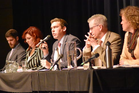Kings-Hants candidates met in Horton High's performance centre Oct. 10 to answer questions at a well-attended forum. Pictured, from left, is Matthew Southall (People's Party), Martha MacQuarrie (Conservative), Kody Blois (Liberal), Stephen Schneider (NDP) and Brogan Anderson (Green).
