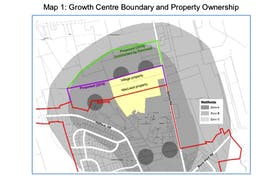 This graphic from a recent County of Kings staff report shows the proposed northern boundary extension for the Port Williams growth centre. - County of Kings Graphic