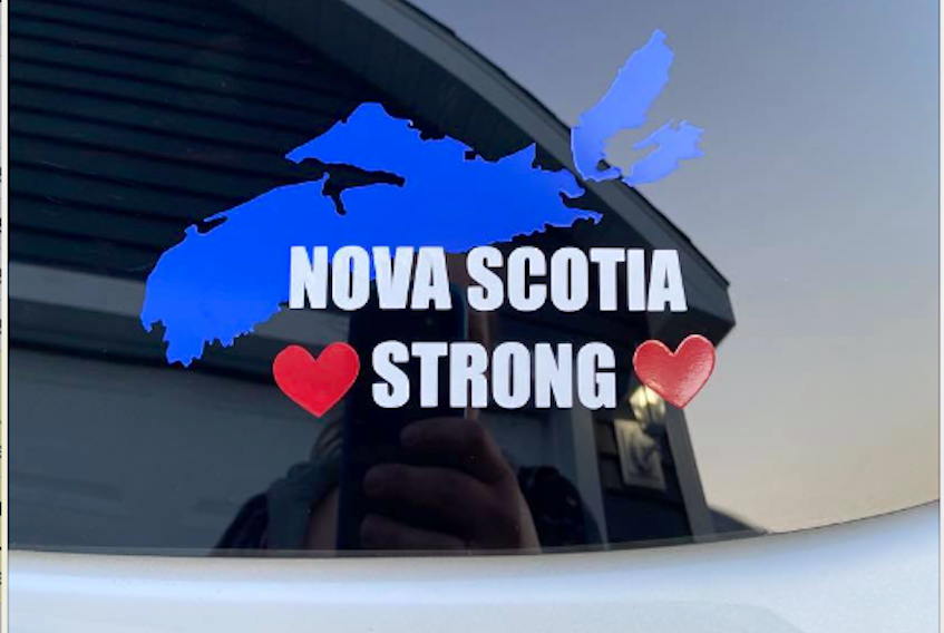 Windsor-area residents have teamed up to produce nearly 1,500 decals that have brought in more than $9,000 in donations for the Stronger Together Nova Scotia Fund.