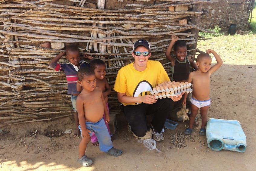 David Newcombe of Cornwallis Farms Ltd. in Port Williams travelled to Africa to help mentor employees at two barns established by the Egg Farmers of Canada in recent years. Part of the experience involved egg deliveries to homes and a local church that feeds children in need.