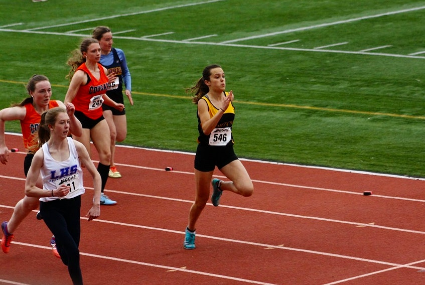 Daniella Kidston, of Port Williams, wearing 546, competes in the NSSAF provincials.