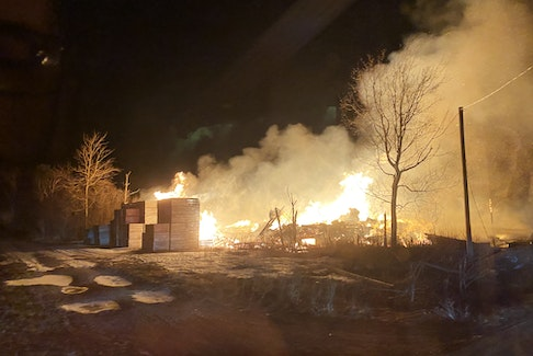 Firefighters from several departments in the Annapolis Valley were dispatched to this overnight barn fire near Berwick in the wee morning hours on Tuesday. - Adrian Johnstone