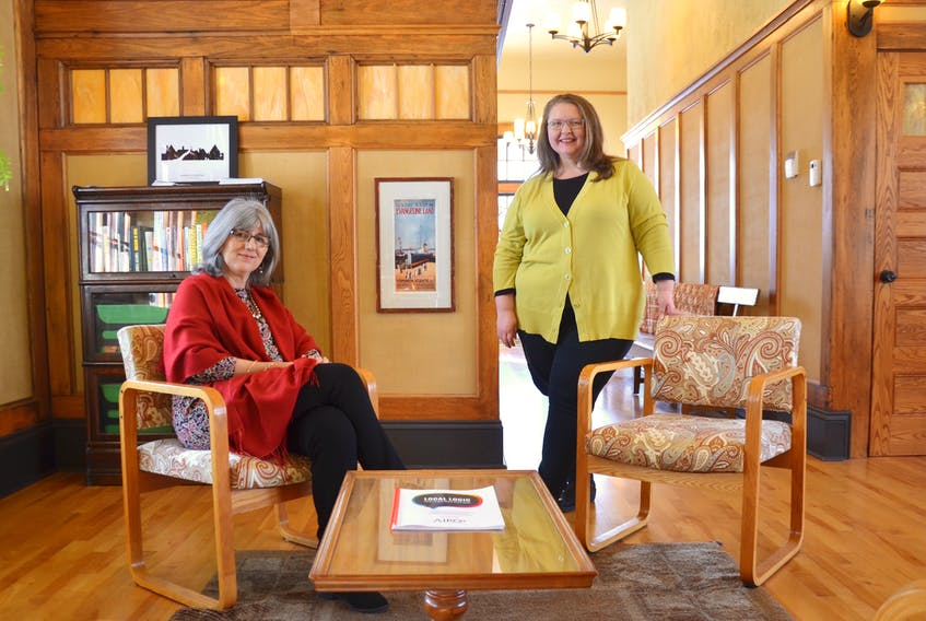 Jane Nicholson, left, is founder and CEO of Annapolis Investments in Rural Opportunity. Executive director is Adele MacDonald. The pair has used Nicholson's money to fund 67 local businesses in Annapolis County.