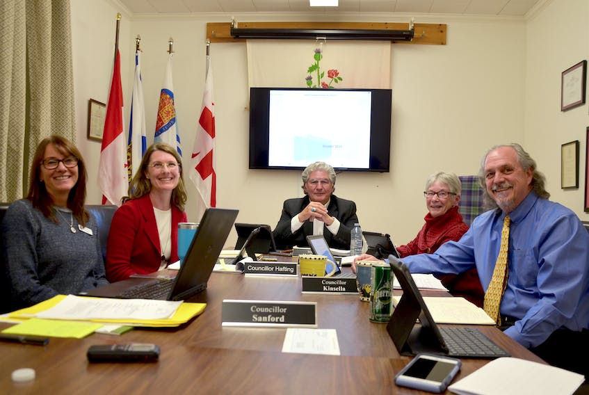 Members of Annapolis Royal's town council declared a climate war Nov. 18. Some predictions pots most of the town under water during flood conditions as early as 2050. From left are Holly Sanford, Paula Hafting, Bill MacDonald, Pat Power, and John Kinsella.