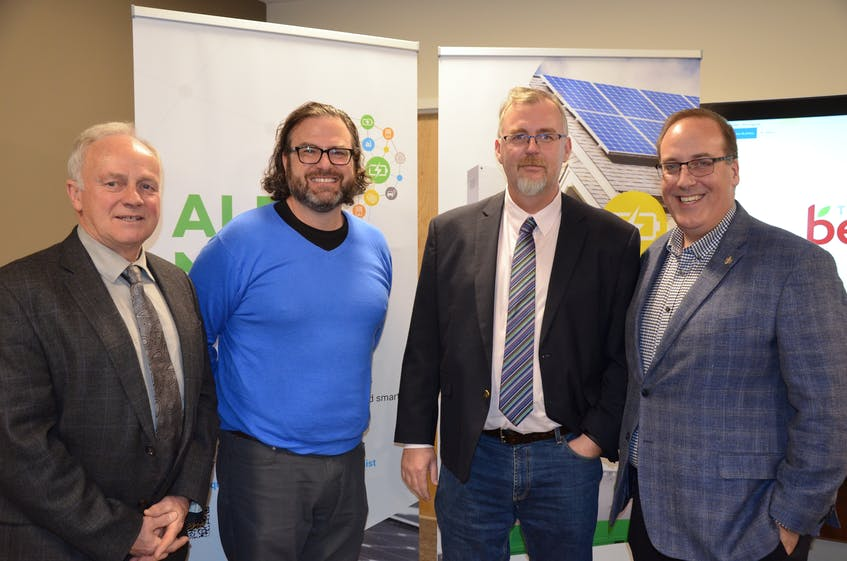 Kings-West MLA Leo Glavine, operating partner Jeremy Lutes and director of low carbon development Julian Boyle of Equilibrium Engineering and West Nova MP Chris d'Entremont at the signing of a renewable energy and energy storage agreement with the Town of Berwick. -  File photo