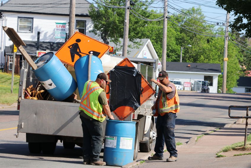 A crew from Bowsers Construction Ltd. was installing signage along Albion Street on Friday, June 26, 2020, in preparation for a major infrastructure project that begins on June 29. Tom McCoag/Town of Amherst photo