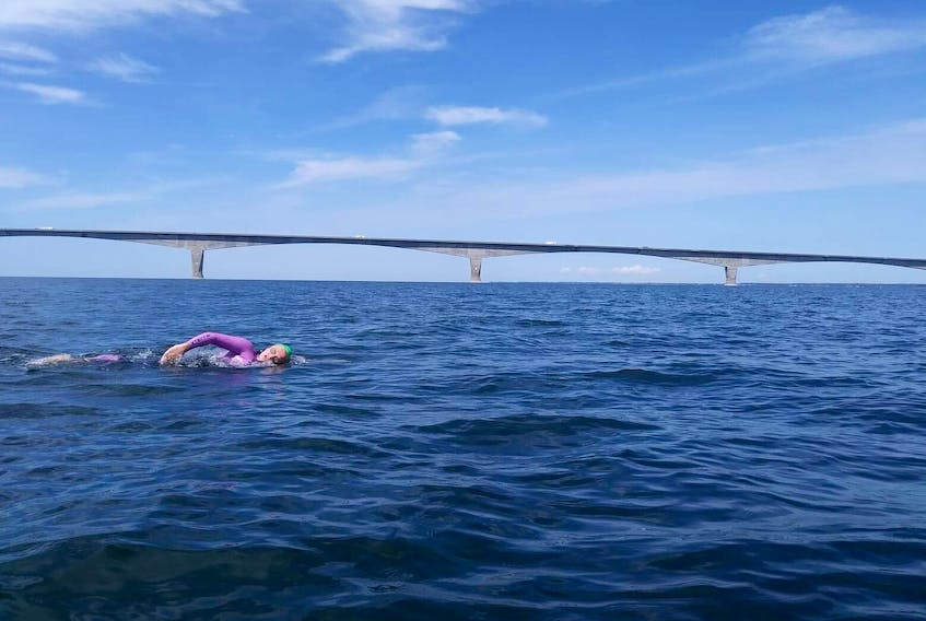 Amy Barnhill took part in the Big Swim on August 12. Her kayaker, Chesley Earle, took this photo during the swim. A kayaker accompanies each swimmer in case they need help.