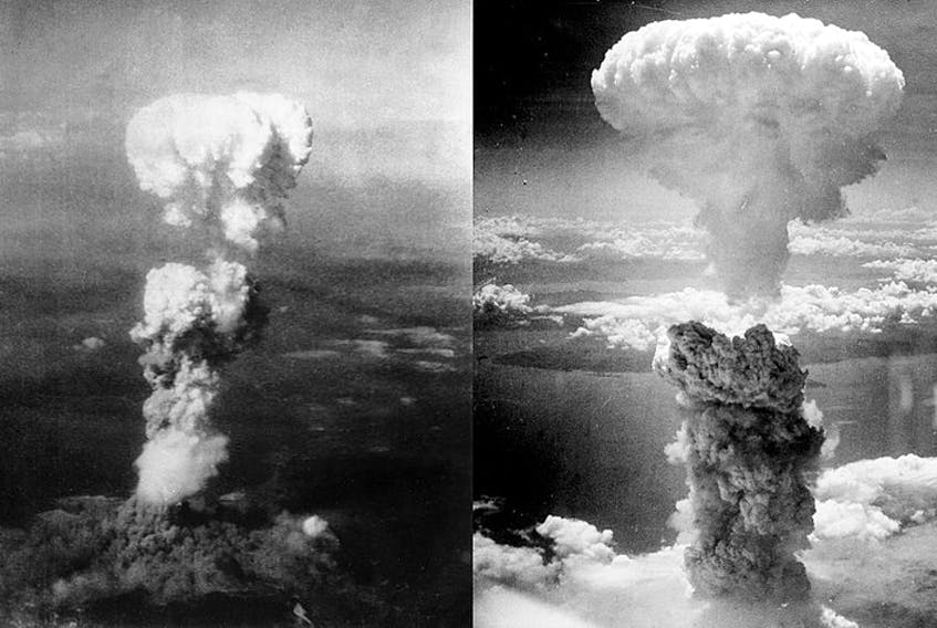 Mushroom clouds rise up from the Japanese cities of Hiroshima and Nagasaki, respectively, after atomic bombs were dropped on them in August 1945. - Wikimedia Commons