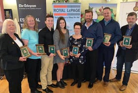 Golf NL handed out its annual awards for 2019 over the weekend in St. John's. Posing with their awards (left to right) are Kay Thompson (official of the year), Kathleen Jean (female golfer the year), Ethan Efford (junior male golfer of the year), Taylor Cormier (junior female golfer of the year), Pat LaCour (employee of the year), Chuck Conley (male golfer of the year), Morley Nippard (volunteer of the year) and Pat Hepditch (representing Blomidon Golf Club, chosen as club of the year). — Submitted/Golf NL