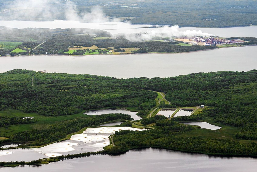 The Boat Harbour treatment site processes waste water from the Northern Pulp mill, seen in the background. - File