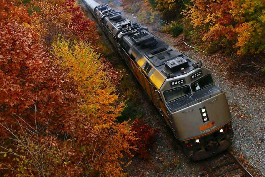 Via Rail's The Ocean heads for Montreal along the colourful rail cut in south-end Halifax this fall. - Tim Krochak