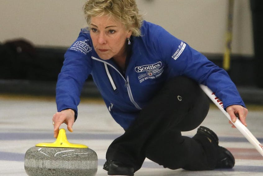 Kim Kelly, skipping for the Jones rink, is seen during their Scotties match against the Theresa Breen rink in Dartmouth on Jan. 11. (Tim Krochak)