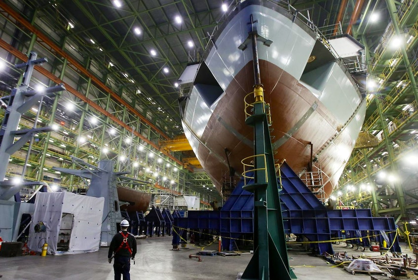 The bow of Margaret Brooke is seen in the assembly hall at the Irving's Halifax Shipyard in Halifax.