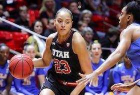 Dartmouth's Daneesha Provo tries to dribble past a UCLA defender during an NCAA Division 1 basketball game for the Utah Utes in in Salt Lake City, Jan,. 12, 2018. (Steve C. Wilson/University of Utah)