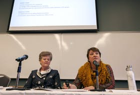 Janice Keefe, right, panel chair and director of the Nova Scotia Centre on Aging at Mount Saint Vincent University, and Cheryl Smith, panel member and long-term care nurse practitioner, unveil recommendations to improve long-term care in Nova Scotia at a news conference on Tuesday. - Eric Wynne