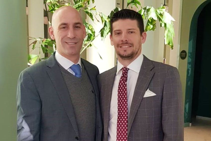 The Royal Spanish Football Federation, or RFEF, announced this week it was adopting a blockchain-based ticket distribution system developed by Nodalblock, a tech company partly based in Halifax. Shown in this contributed photo is Ariano Hernandez, chief technology officer of Nodalblock, left, and Luis Rubiales, president, RFEF.