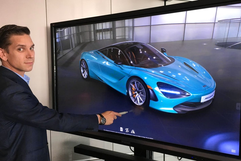 McLaren Toronto's Mark Basili shows off the McLaren Automotive Real-time Configurator, which offers a glimpse into the future of car shopping.