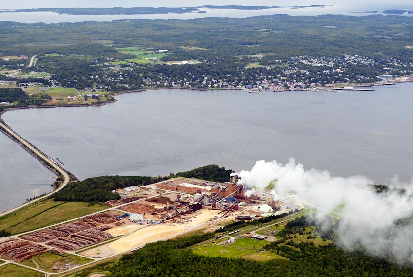 The Northern Pulp mill is seen in Abercrombie Point in 2014, with the Town of Pictou in the background. - File