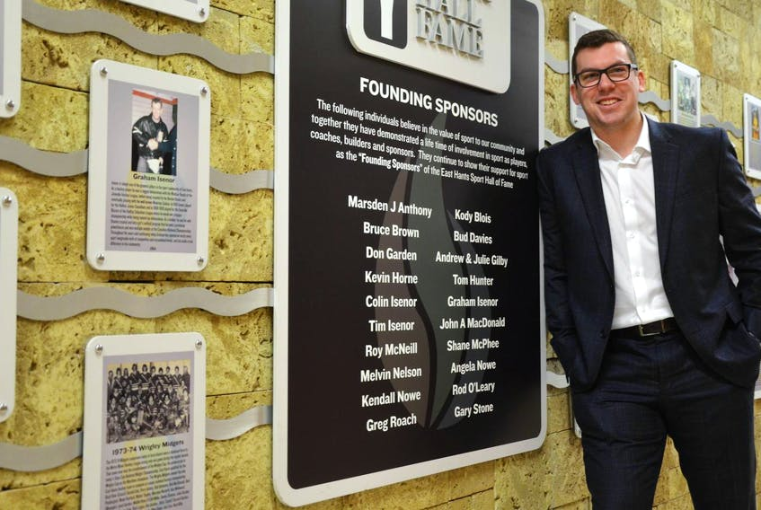 Kody Blois, standing in the East Hants Sports Hall of Fame at the Sportsplex in Lantz, will seek the Liberal nod for the riding of Kings-Hants that Scott Brison held for more than two decades. - Francis Campbell