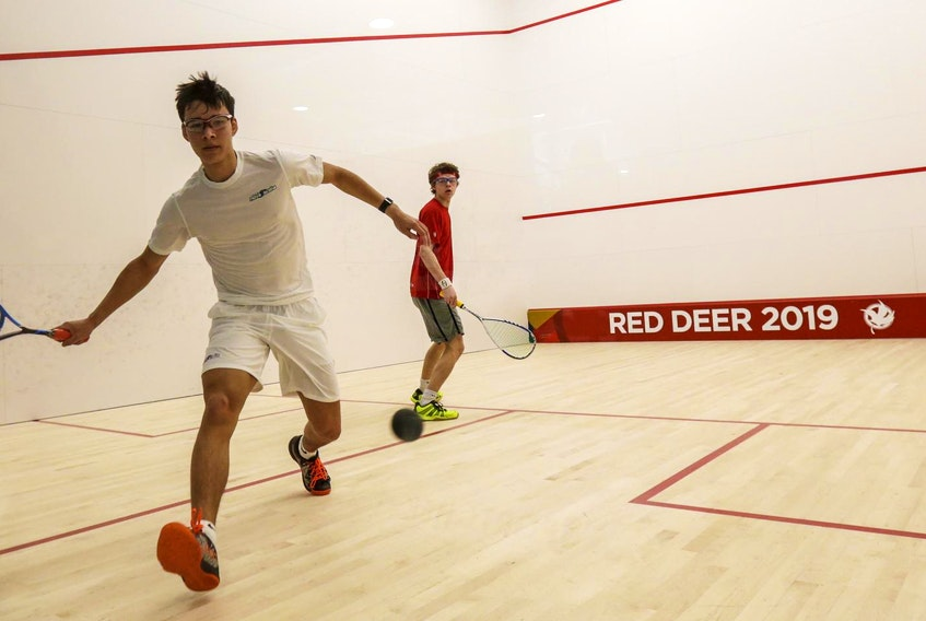 Douglas Kosciukiewicz of Kentville competes in squash against Liam Marrison of Ontario on Feb. 25 at the Gary W. Harris Canada Games Centre. - Len Wagg / Communications Nova Scotia