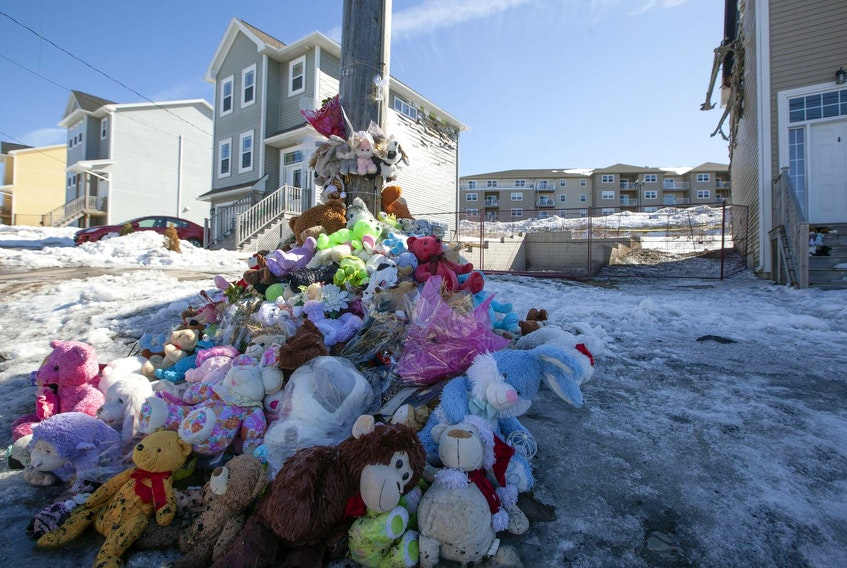 A memorial of stuff bears remains as the only sign of a tragic fire in which the seven Barho children perished Feb. 19. The home at Quartz Drive in Spryfield was demolished down to the foundation in March. - Eric Wynne / File