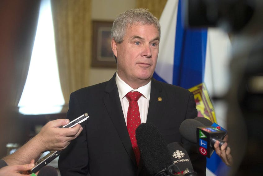 Clare-Digby MLA Gordon Wilson answers questions from the media after being sworn-in as environment minister at a ceremony at Government House on Wednesday morning, April 24, 2019. - Ryan Taplin
